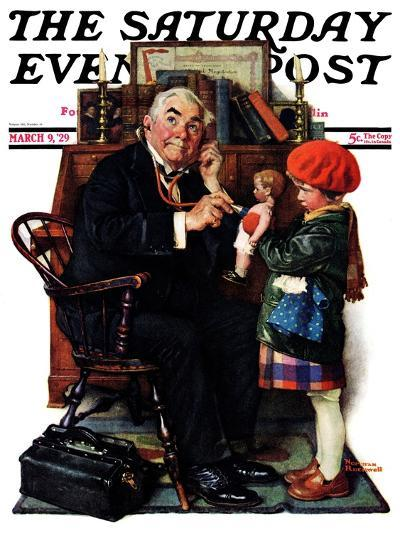 """""""Doctor and the Doll"""" Saturday Evening Post Cover, March 9,1929-Norman Rockwell-Giclee Print"""