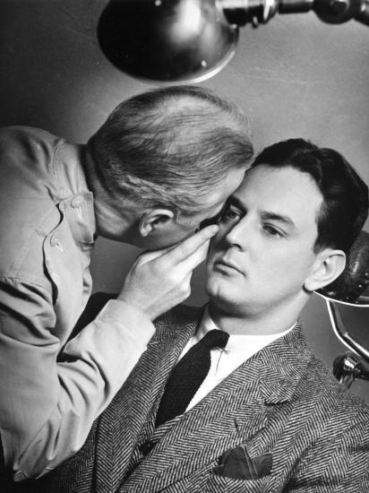 Doctor Examining Patient's Eyes-George Marks-Photographic Print