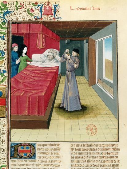 Doctor Performing a Urine Analysis, Livre Des Proprietes Des Choses L'Anglais, 1480--Giclee Print