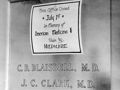 Doctor Protesting the New Medicare Program--Photo