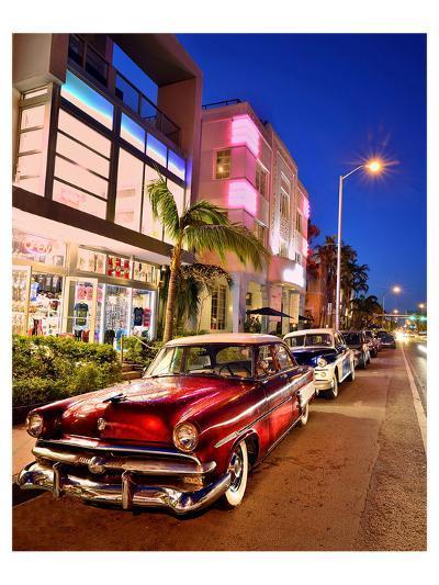 Dodge Classic Car on Collins Avenue, Miami Beach in Miami, Florida, USA--Art Print
