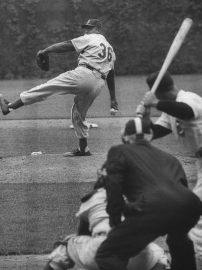 Dodger Don Newcombe Leaning with His Arm Cocked Back for the Pitch--Premium Photographic Print