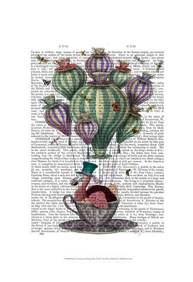 Dodo in Teacup with Dragonflies-Fab Funky-Art Print