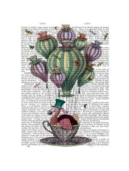 Dodo in Teacup with Dragonflies-Fab Funky-Premium Giclee Print