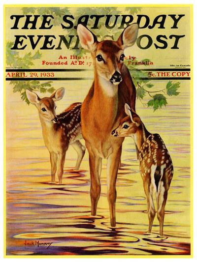 """Doe and Fawns,"" Saturday Evening Post Cover, April 29, 1933-Jack Murray-Giclee Print"