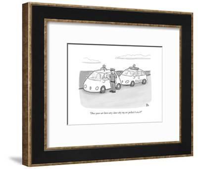 """""""Does your car have any idea why my car pulled it over?"""" - New Yorker Cartoon-Paul Noth-Framed Premium Giclee Print"""