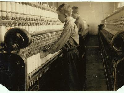 Doffers Replacing Full Bobbins at Indian Orchard Cotton Mill, Massachusetts, 1916-Lewis Wickes Hine-Photographic Print