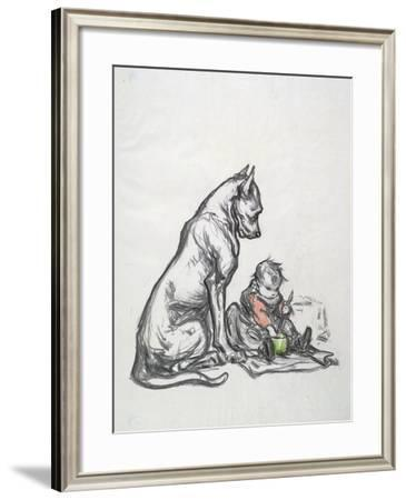 Dog and Child, Early 20th Century-Robert Noir-Framed Giclee Print