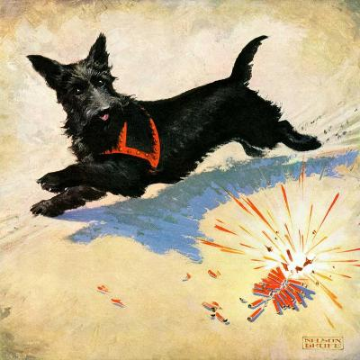"""Dog and Firecrackers,""July 1, 1936-Nelson Grofe-Giclee Print"