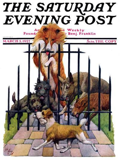 """""""Dog and His Bone,"""" Saturday Evening Post Cover, March 5, 1927-Robert L^ Dickey-Giclee Print"""