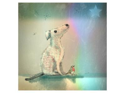 Dog and Starlight-Claire Westwood-Art Print