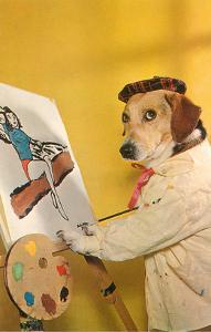 Dog at Easel, Retro