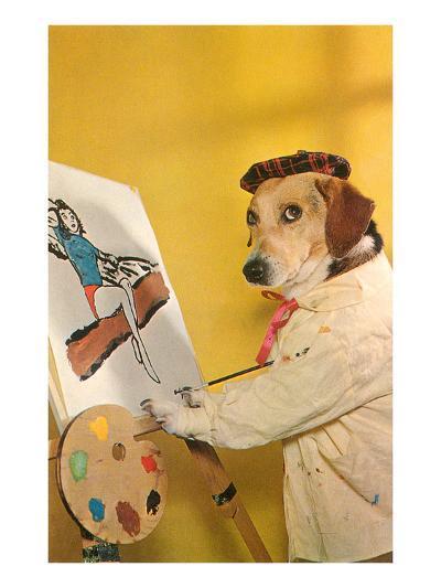 Dog at Easel, Retro--Art Print