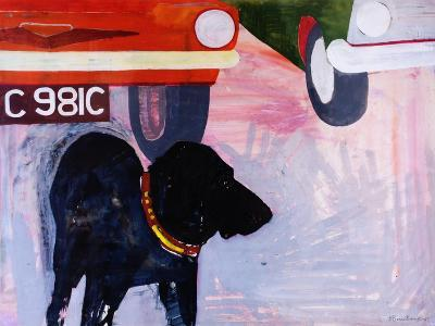 Dog at the Used Car Lot, Rex with Orange Car-Brenda Brin Booker-Giclee Print