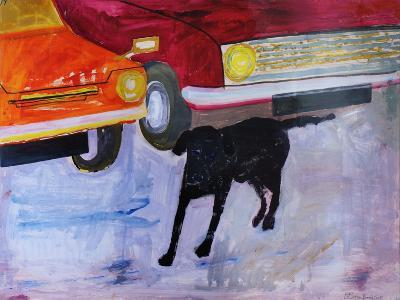Dog at the Used Car Lot, Rex with Red Car-Brenda Brin Booker-Giclee Print