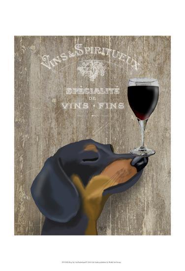 Dog Au Vin Dachshund-Fab Funky-Art Print