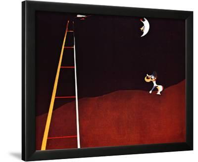 Dog Barking at the Moon-Joan Mir?-Framed Art Print