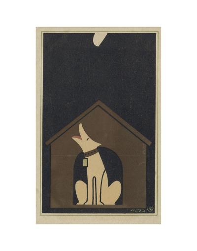 Dog Barking at the Moon-Sugiura Hisui-Art Print