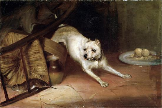 Dog Chasing a Rat, 19th or Early 20th Century-Briton Riviere-Giclee Print