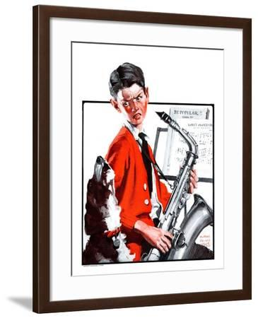 """""""Dog Doesn't Like Sax Sounds,""""March 28, 1925-William Meade Prince-Framed Giclee Print"""