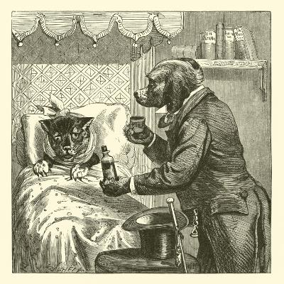 Dog Giving Pills to Sick Cat--Giclee Print