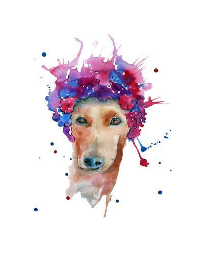 Dog in a Wreath of Flowers. Isolated. Watercolor- luchioly-Art Print