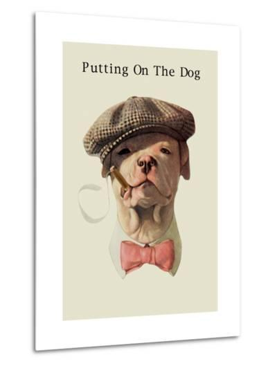 Dog in Hat and Bow Tie Smoking a Cigar--Metal Print
