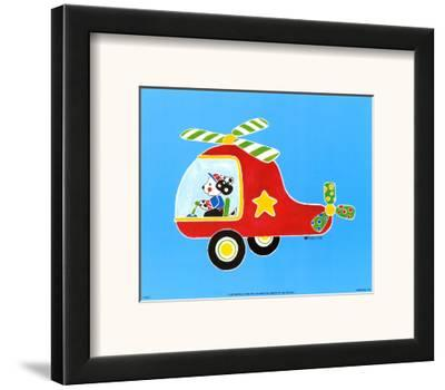 Dog in Helicopter-Shelly Rasche-Framed Art Print