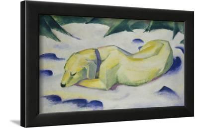 Dog Lying in the Snow, 1910/1911-Franz Marc-Framed Art Print