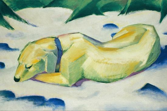 Dog Lying in the Snow-Franz Marc-Giclee Print