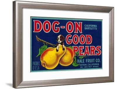 Dog On Good Pears Pear Crate Label - Suisun, CA-Lantern Press-Framed Art Print