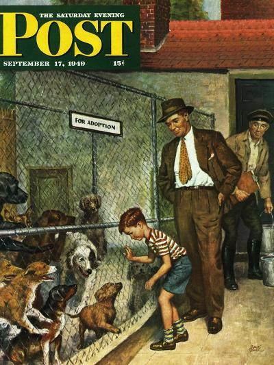 """Dog Pound,"" Saturday Evening Post Cover, September 17, 1949-Amos Sewell-Giclee Print"