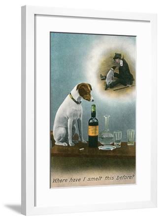 Dog Reminiscing with Whisky Bottle--Framed Art Print
