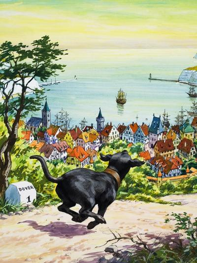 Dog Running to Find His Master, 1969-English School-Giclee Print