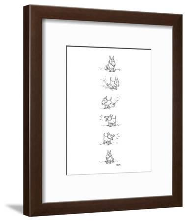 Dog sits, scratches the ground, barks and sits again. - New Yorker Cartoon-George Booth-Framed Premium Giclee Print
