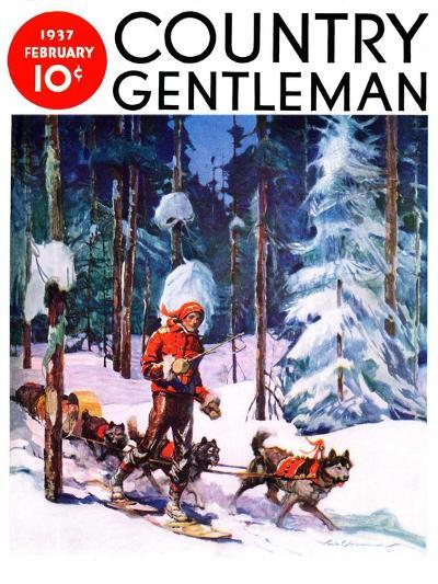 """Dog Sled,"" Country Gentleman Cover, February 1, 1937-Frank Schoonover-Giclee Print"
