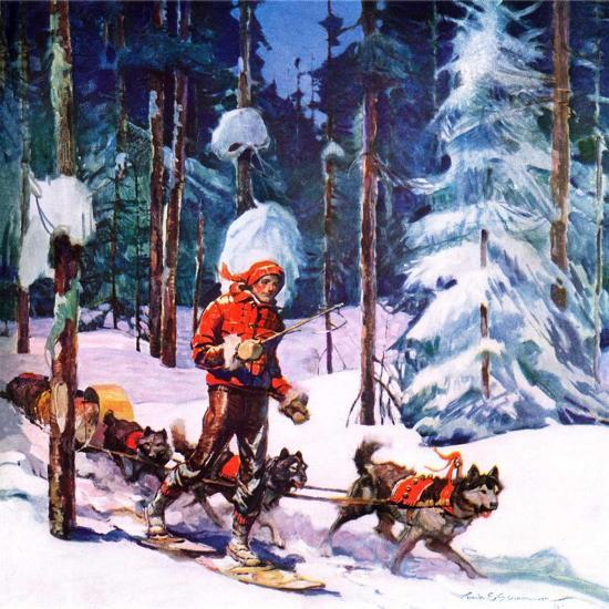 """""""Dog Sled,""""February 1, 1937-Frank Schoonover-Giclee Print"""