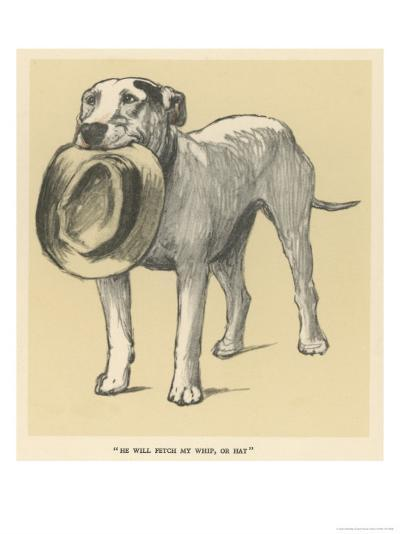 Dog Trained to Fetch His Master's Hat-Cecil Aldin-Giclee Print
