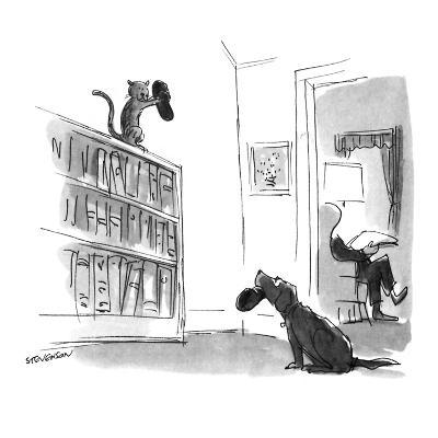 Dog trying to bring slippers to master looks pleadingly at cat who has the? - New Yorker Cartoon-James Stevenson-Premium Giclee Print
