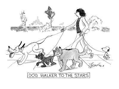 DOG WALKER TO THE STARS - New Yorker Cartoon-Edward Frascino-Premium Giclee Print