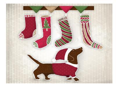 Dog with Christmas stockings-Kristin Van Handel-Art Print