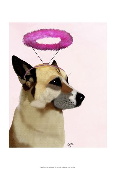 Dog with Pink Halo-Fab Funky-Art Print
