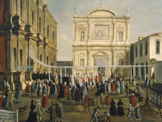 Doge and Lords in Church of San Rocco on Holy Day-Gabriel Bella-Giclee Print