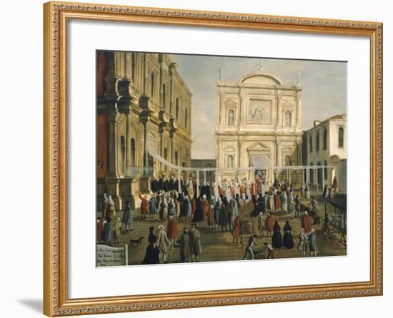 Doge and Lords in Church of San Rocco on Holy Day-Gabriel Bella-Framed Giclee Print