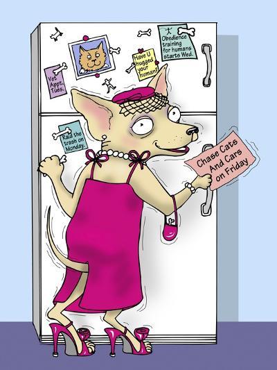 Doggie at the Fridge-Linda Braucht-Giclee Print