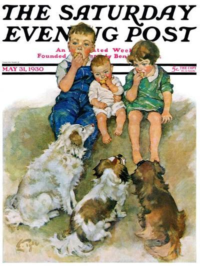 """""""Doggie Beggars,"""" Saturday Evening Post Cover, May 31, 1930-Ellen Pyle-Giclee Print"""