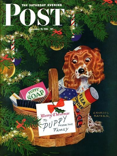"""""""Doggy Basket,"""" Saturday Evening Post Cover, December 19, 1942-Charles Kaiser-Giclee Print"""