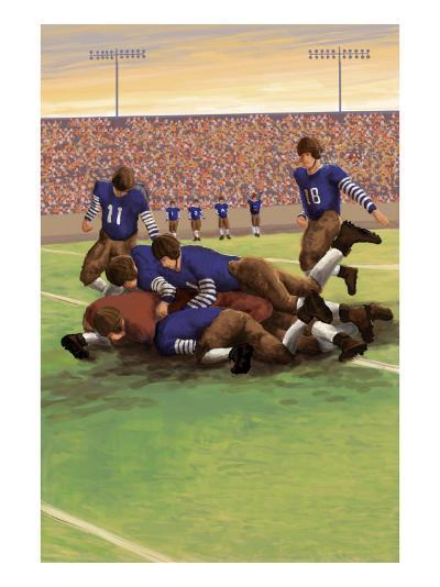 Dogpile Football Scene-Lantern Press-Art Print
