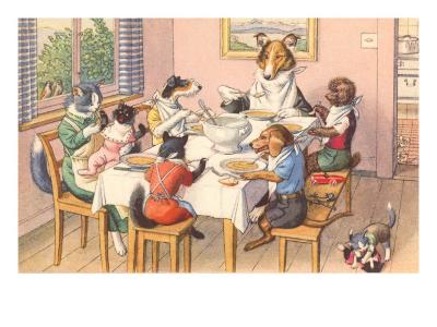 Dogs and Cats at Supper--Art Print