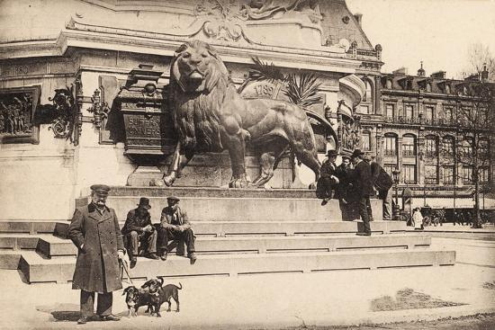 Dogs at the Base of the Statue in Place De La République, Paris, 1905--Giclee Print